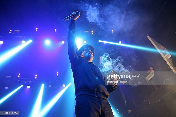 Recording artist B Real of Cypress Hill performs during the Cypress Hill 25th Anniversary Haunted Hill show at Terminal 5 on October 28 2016 in New...