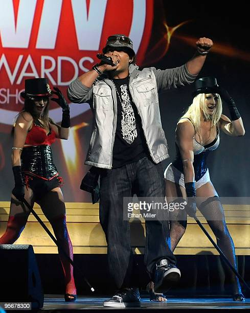 Recording artist Baby Bash performs with dancers during the 27th annual Adult Video News Awards Show at The Pearl concert theater at the Palms Casino...