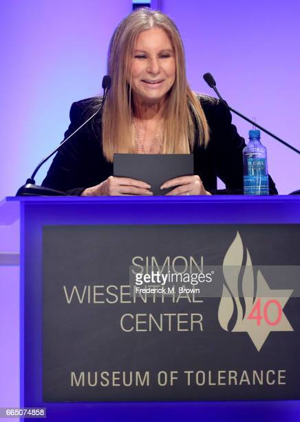 Recording artist Barbra Streisand speaks onstage at The Simon Wiesenthal Center's 2017 National Tribute Dinner at The Beverly Hilton Hotel on April 5...
