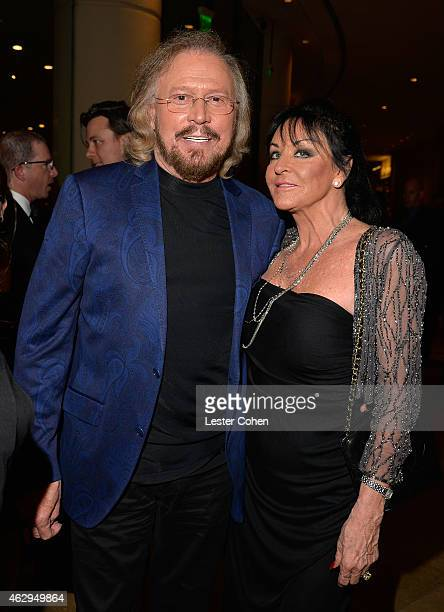 Recording artist Barry Gibb and Linda Gray attend the Pre-GRAMMY Gala and Salute to Industry Icons honoring Martin Bandier at The Beverly Hilton...