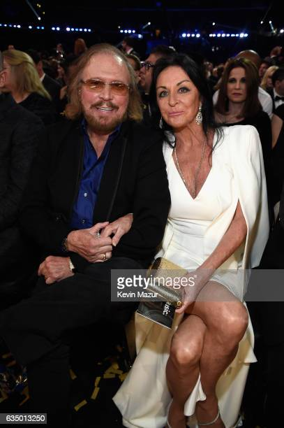 Recording artist Barry Gibb and Linda Grey during The 59th GRAMMY Awards at STAPLES Center on February 12 2017 in Los Angeles California
