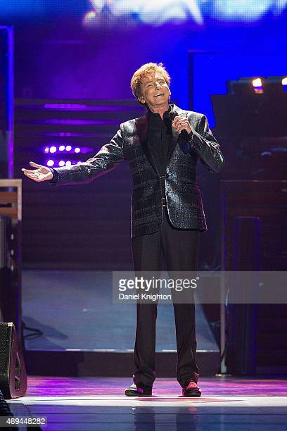 Recording artist Barry Manilow performs on stage during his 'One Last Time' tour at Valley View Casino Center on April 11 2015 in San Diego California