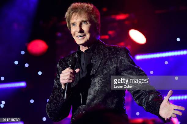 Recording artist Barry Manilow performs onstage at the Clive Davis and Recording Academy PreGRAMMY Gala and GRAMMY Salute to Industry Icons Honoring...