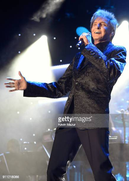 Recording artist Barry Manilow performs onstage during the Clive Davis and Recording Academy PreGRAMMY Gala and GRAMMY Salute to Industry Icons...