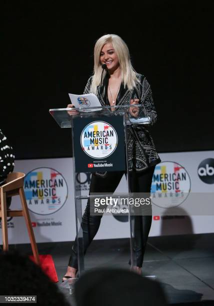 Recording Artist Bebe Rexha attends the '2018 American Music Awards' nominations announcement at YouTube Space LA on September 12 2018 in Los Angeles...