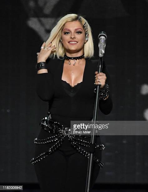 Recording artist Bebe Rexha performs as she opens for Jonas Brothers during a stop of the group's Happiness Begins Tour at MGM Grand Garden Arena on...
