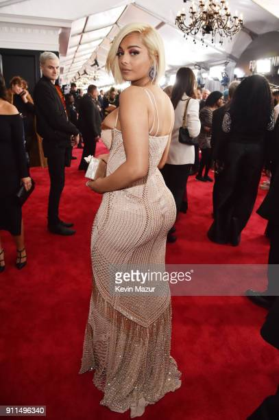 Recording artist Bebe Rexha white rose detail attends the 60th Annual GRAMMY Awards at Madison Square Garden on January 28 2018 in New York City