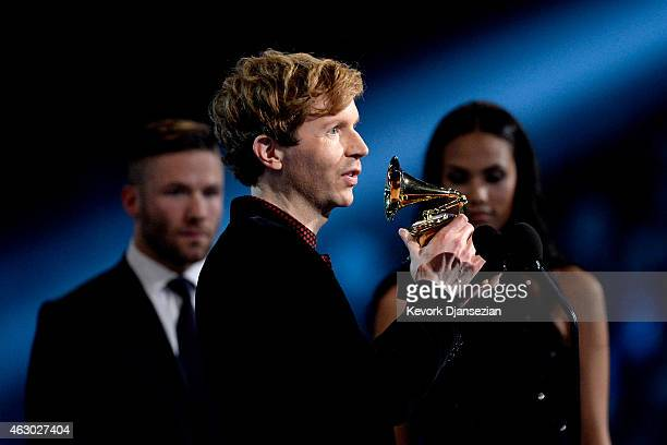 "Recording artist Beck accepts the Best Rock Album award for ""Morning Phase"" onstage during The 57th Annual GRAMMY Awards at the at the STAPLES Center..."