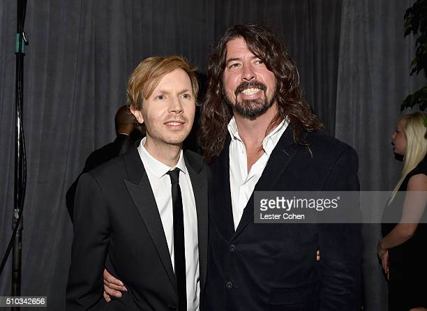 Recording artist Beck and Dave Grohl attend the 2016 PreGRAMMY Gala and Salute to Industry Icons honoring Irving Azoff at The Beverly Hilton Hotel on...