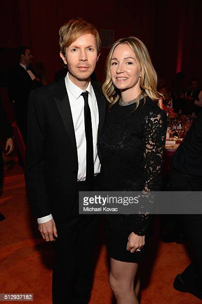 Recording artist Beck and Marissa Ribisi attend the 24th Annual Elton John AIDS Foundation's Oscar Viewing Party at The City of West Hollywood Park...