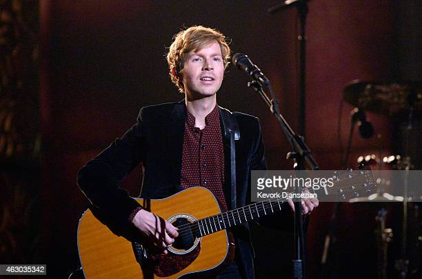 Recording artist Beck performs Heart Is a Drum onstage during The 57th Annual GRAMMY Awards at the at the STAPLES Center on February 8 2015 in Los...