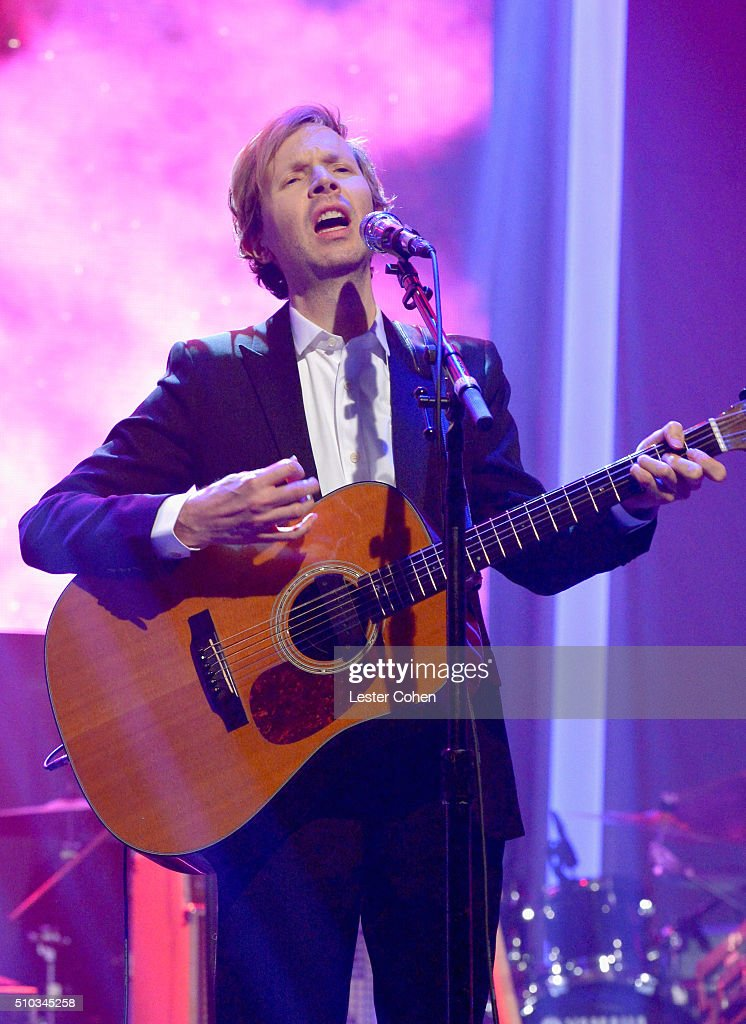 Recording artist Beck performs onstage during the 2016 Pre-GRAMMY Gala and Salute to Industry Icons honoring Irving Azoff at The Beverly Hilton Hotel on February 14, 2016 in Beverly Hills, California.
