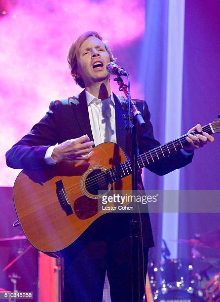 Recording artist Beck performs onstage during the 2016 PreGRAMMY Gala and Salute to Industry Icons honoring Irving Azoff at The Beverly Hilton Hotel...