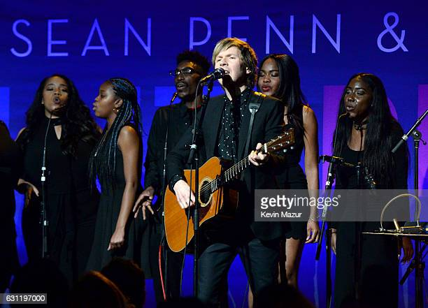 Recording artist Beck performs onstage during the 6th Annual Sean Penn Friends HAITI RISING Gala Benefiting J/P Haitian Relief Organizationat Montage...