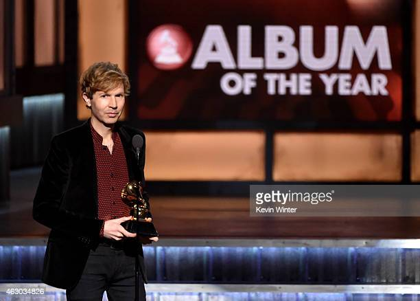 Recording artist Beck speaks onstage during The 57th Annual GRAMMY Awards at the STAPLES Center on February 8 2015 in Los Angeles California