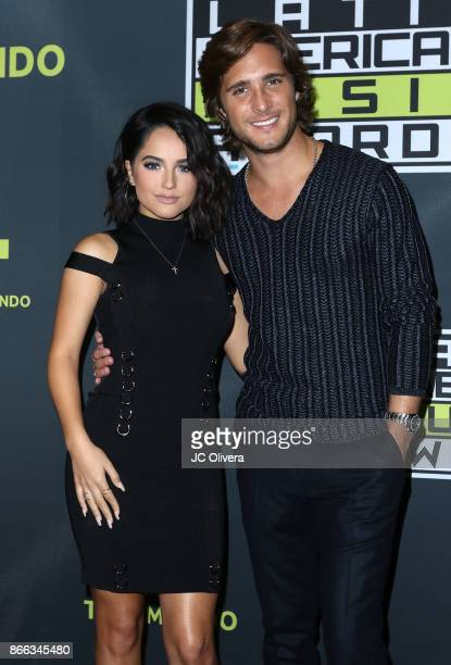 Recording artist Becky G and actor Diego Boneta attend the 2017 Latin American Music Awards press conference at Dolby Theatre on October 25 2017 in...