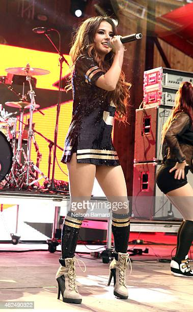 Recording artist Becky G performs onstage at the HGTV Lodge during Day 2 of the DirecTV Super Fan Festival at Pendergast Family Farm on January 29...