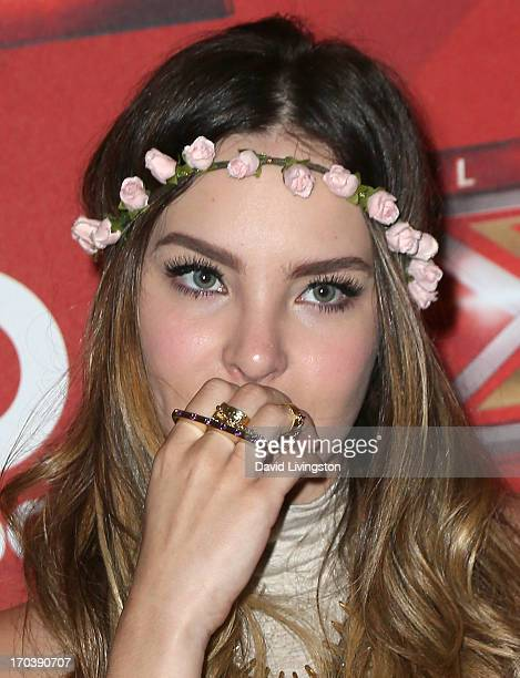 Recording artist Belinda attends a news conference announcing the celebrity judges for MundoFOX's El Factor X at Sofitel Hotel on June 12 2013 in Los...