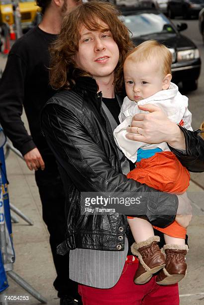 Recording artist Ben Kweller and his son Dorian Zev Kweller arrive at a taping of the Late Show With David Letterman at the Ed Sullivan Theater May...