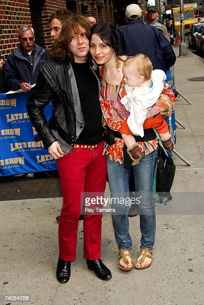 Recording artist Ben Kweller his wife Liz Smith and their son Dorian Zev Kweller arrive at a taping of the Late Show With David Letterman at the Ed...