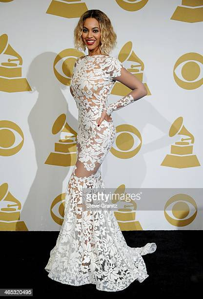 Recording artist Beyoncé Knowles poses in the press room during th 56th GRAMMY Awards at Staples Center on January 26, 2014 in Los Angeles,...