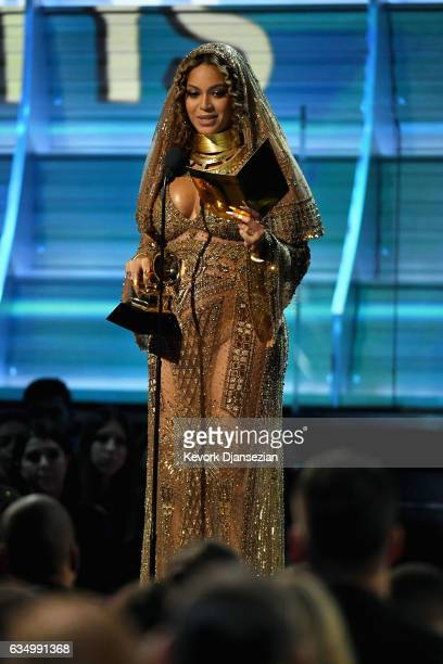 Recording artist Beyonce accepts the award for Best Urban Contemporary Album for 'Lemonade' onstage during The 59th GRAMMY Awards at STAPLES Center...