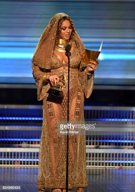 Recording artist Beyonce accepts the Best Urban Contemporary Album award for 'Lemonade' onstage during The 59th GRAMMY Awards at STAPLES Center on...