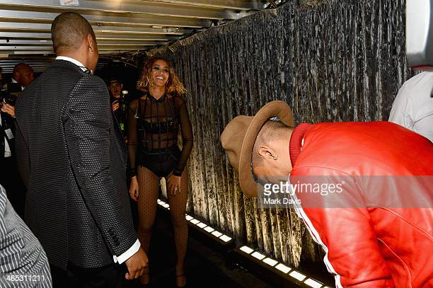 Recording artist Beyonce and Pharrell Williams attend the 56th GRAMMY Awards at Staples Center on January 26 2014 in Los Angeles California