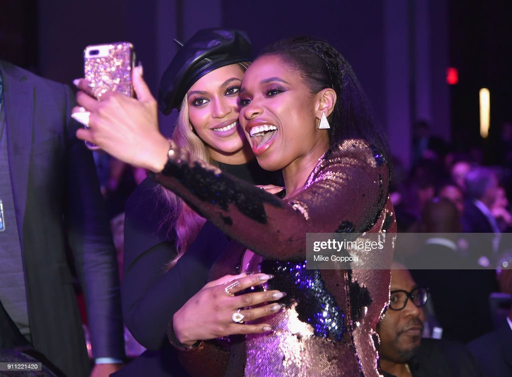 Recording artist Beyonce and recording artist Jennifer Hudson attend the Clive Davis and Recording Academy Pre-GRAMMY Gala and GRAMMY Salute to Industry Icons Honoring Jay-Z on January 27, 2018 in New York City.
