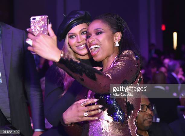 Recording artist Beyonce and recording artist Jennifer Hudson attend the Clive Davis and Recording Academy PreGRAMMY Gala and GRAMMY Salute to...