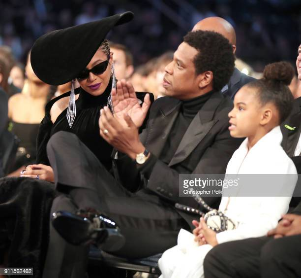 Recording artist Beyonce Jay Z and daughter Blue Ivy Carter attend the 60th Annual GRAMMY Awards at Madison Square Garden on January 28 2018 in New...