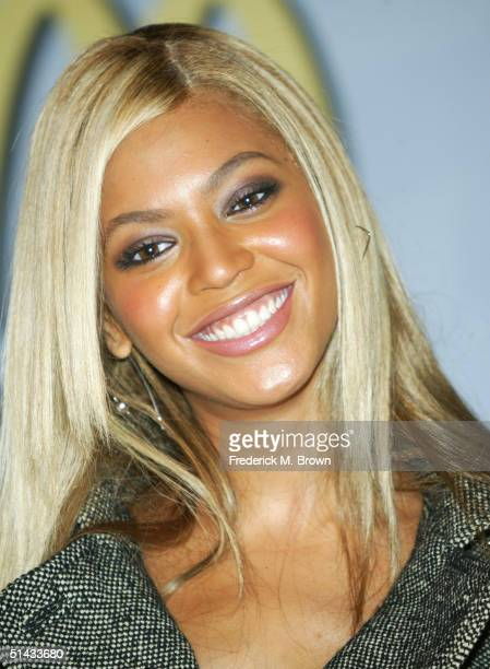 Recording artist Beyonce Knowles of Destiny's Child speaks during McDonald's press conference at the Regent Beverly Wilshire Hotel on October 6 2004...