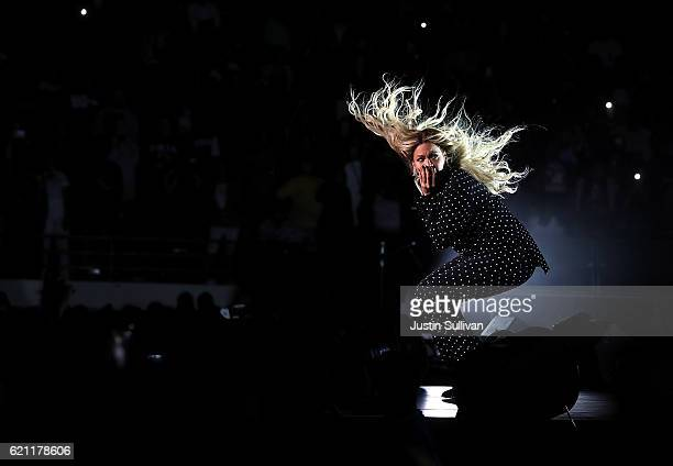 Recording artist Beyonce performs during a Get Out The Vote concert Democratic presidential nominee former Secretary of State Hillary Clinton with...