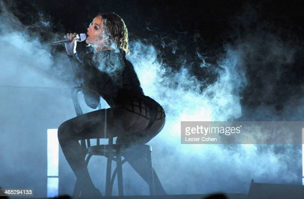 Recording artist Beyonce performs onstage during the 56th GRAMMY Awards at Staples Center on January 26 2014 in Los Angeles California