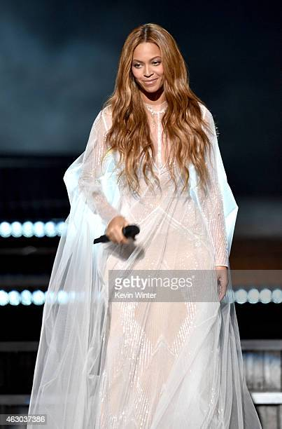 Recording artist Beyonce performs onstage during The 57th Annual GRAMMY Awards at the STAPLES Center on February 8 2015 in Los Angeles California