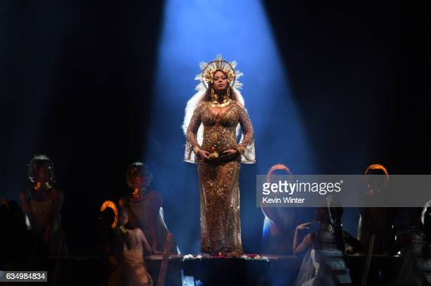 Recording artist Beyonce performs onstage during The 59th GRAMMY Awards at STAPLES Center on February 12, 2017 in Los Angeles, California.
