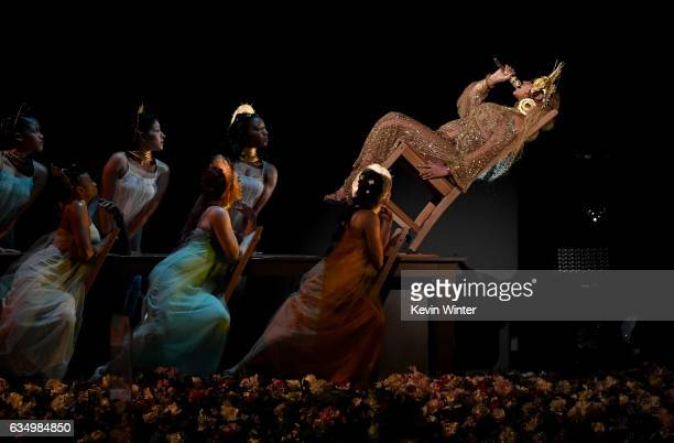 Recording artist Beyonce performs onstage during The 59th GRAMMY Awards at STAPLES Center on February 12 2017 in Los Angeles California