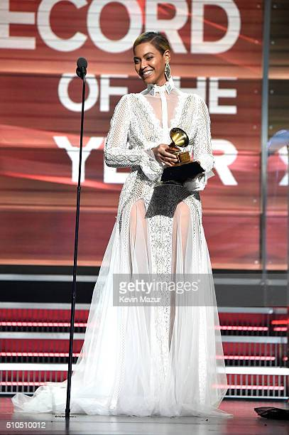 Recording artist Beyonce presents the award for Record of the Year onstage during The 58th GRAMMY Awards at Staples Center on February 15 2016 in Los...
