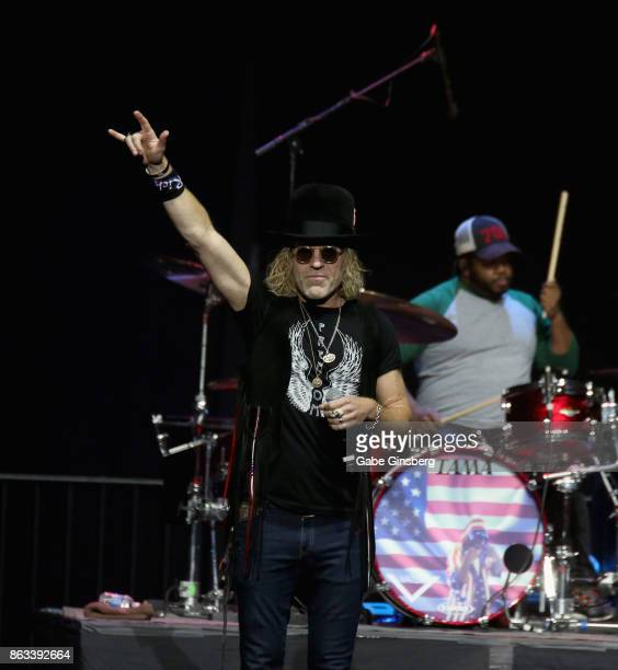 Recording artist Big Kenny Alphin of Big Rich performs during 'Vegas Strong A Night of Healing' at the Orleans Arena on October 19 2017 in Las Vegas...