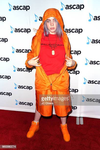 Recording artist Billie Eilish attends the 2018 ASCAP Pop Music Awards on April 23 2018 in Beverly Hills California