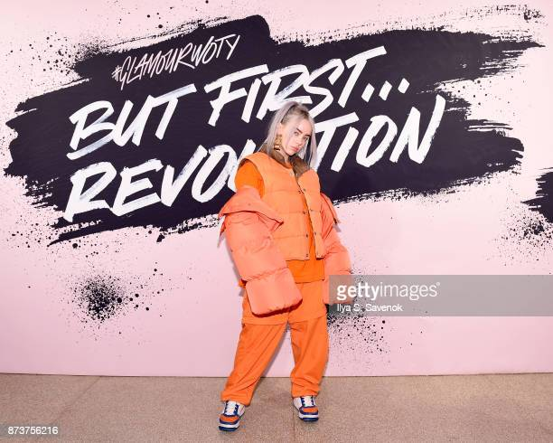 Recording artist Billie Eilish poses during Glamour Celebrates 2017 Women Of The Year Live Summit at Brooklyn Museum on November 13 2017 in New York...