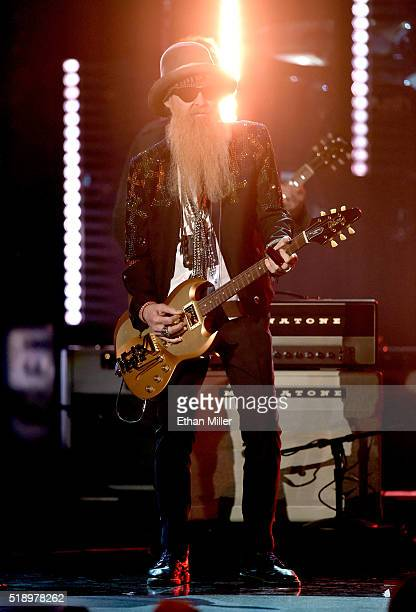 Recording artist Billy Gibbons performs onstage during the 51st Academy of Country Music Awards at MGM Grand Garden Arena on April 3 2016 in Las...