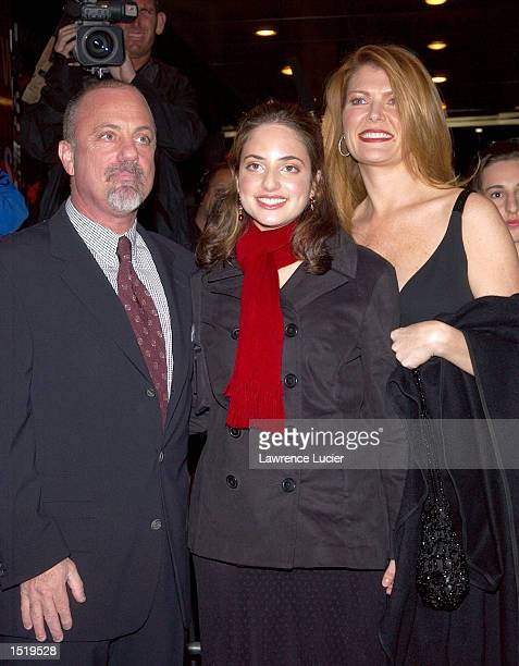 Recording artist Billy Joel his daughter Alexa Ray and broadcaster Trish Bergin attend the opening night of the musical Moving Out on October 24 2002...