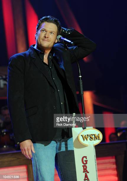 Recording Artist Blake Shelton just after Recording Artist Trace Adkins suprises him with an invite from the Opry to become a member of The Opry...