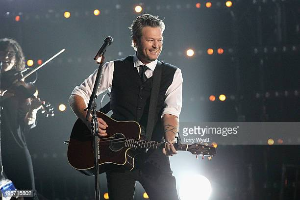 Recording artist Blake Shelton performs onstage at the 49th annual CMA Awards at the Bridgestone Arena on November 4 2015 in Nashville Tennessee