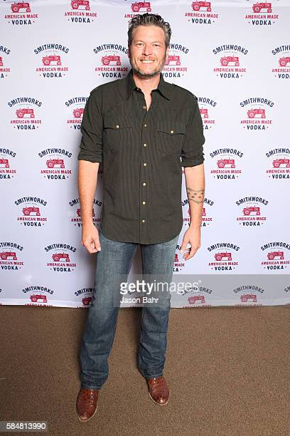 Recording artist Blake Shelton stopped by Grizzly Rose to enjoy some delicious Smithworks cocktails on July 28 2016 in Denver Colorado