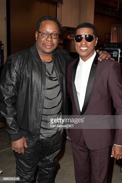 "Recording artist Bobby Brown and honoree Kenneth ""Babyface"" Edmonds attend the 2015 Soul Train Music Awards at the Orleans Arena on November 6, 2015..."