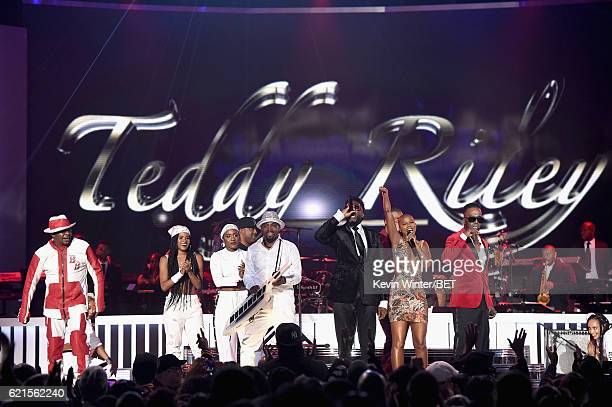 Recording artist Bobby Brown Deja Riley recording artists Teddy Riley Damion Hall Aqil Davidson V Bozeman and Aaron Hall onstage during the 2016 Soul...