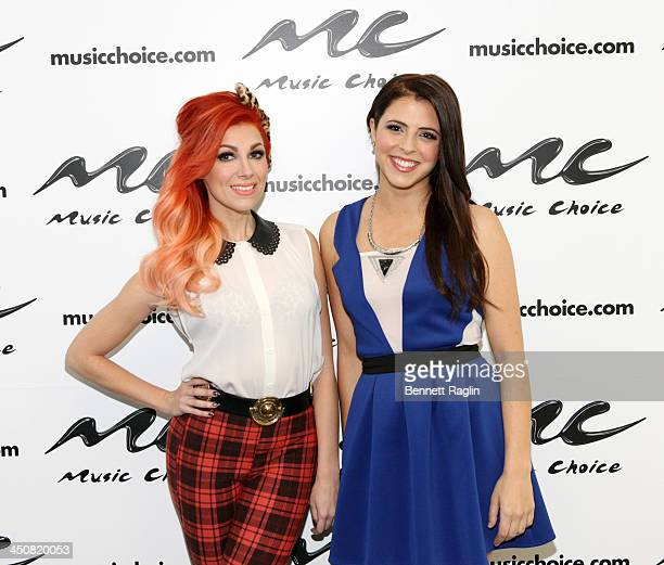 Recording artist Bonnie McKee and host Clare Galterio attend Music Choice on November 20 2013 in New York City