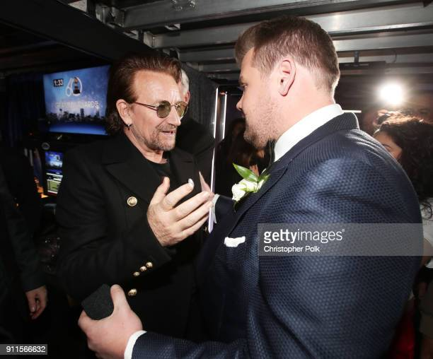 Recording artist Bono and host James Cordon backstage at the 60th Annual GRAMMY Awards at Madison Square Garden on January 28 2018 in New York City